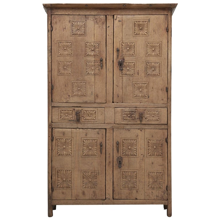 Antique 4-Door Cupboard or Armoire circa 1600's Still Beautiful and Unrestored For Sale
