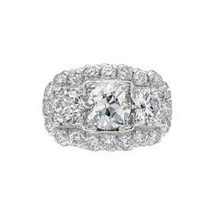 Antique 4.06 Carat Old European Cut Diamond Platinum Ring