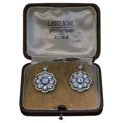 Antique 4.10 Ct Diamond Platinum Gold Earrings