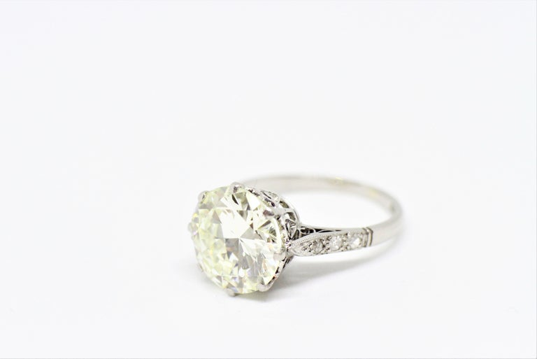 Edwardian Antique 4.11 Carat Old Cut Diamond Engagement Ring, circa 1910 For Sale