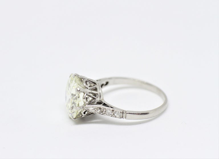 Old European Cut Antique 4.11 Carat Old Cut Diamond Engagement Ring, circa 1910 For Sale