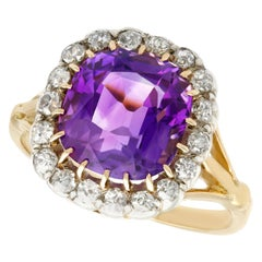Antique 4.20 Carat Amethyst and Diamond Yellow Gold Cocktail Ring