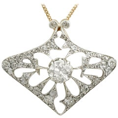 Antique 4.21 Carat Diamond and Yellow Gold Pendant / Brooch