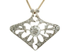 Antique 4.21 Carat Diamond and Yellow Gold Pendant Brooch French, circa 1900
