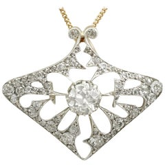 Antique 4.21 Carat Diamond and Yellow Gold Pendant or Brooch