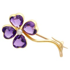 Antique 4.25 Carat Amethyst and Pearl 15k Yellow Gold Four-Leaf Clover Brooch
