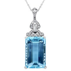 Antique 42.80 Carat Aquamarine and Diamond Pendant