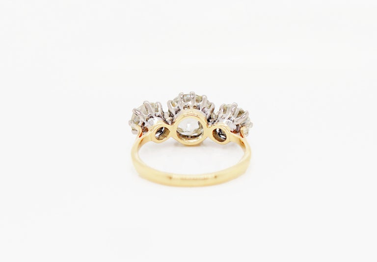Old Mine Cut Antique 4.61 Carat Old Cut Diamond Three-Stone 18 Carat Gold Engagement Ring For Sale