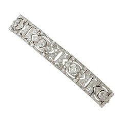 Antique 4.63 Carat Diamond and White Gold Bracelet, circa 1930