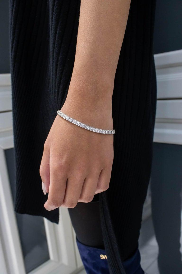 Art Deco Antique 4.85 Carat Round Diamond Tennis Bracelet in Platinum For Sale