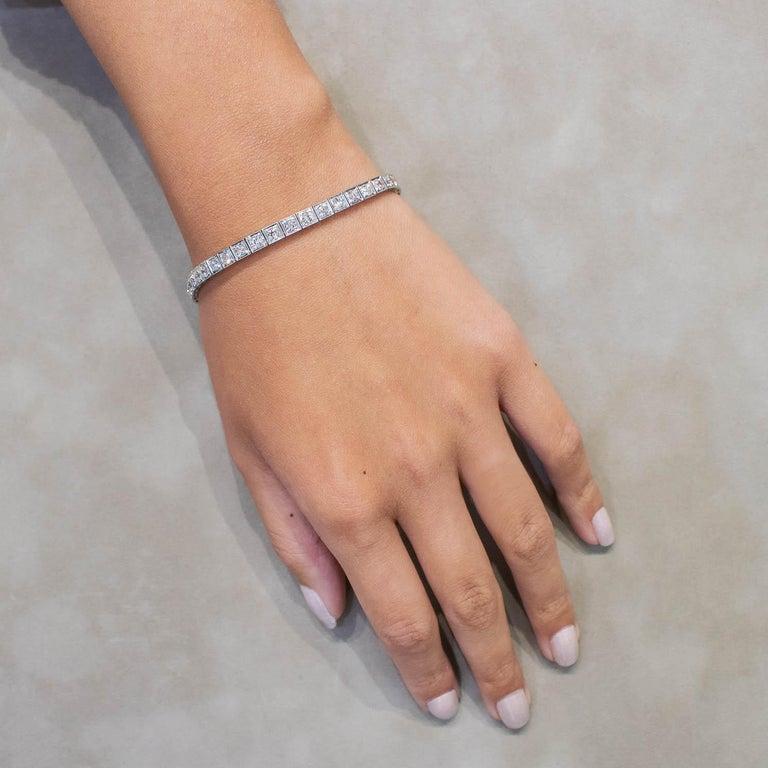 Round Cut Antique 4.85 Carat Round Diamond Tennis Bracelet in Platinum For Sale