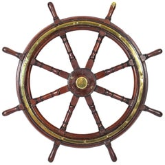 Antique Teak and Brass Set 8-Spoke Ships Wheel, 19th Century