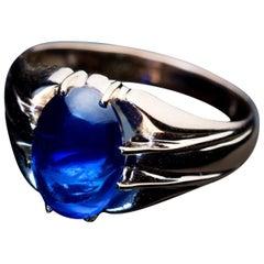 Antique 5 Carat Cabochon Sapphire Gold Unisex Ring