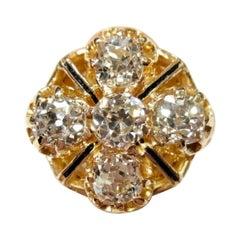 Antique 5 Stone 3 Carat Ultra Fine Old Mine Cut Diamonds 18k Gold Enamel Ring