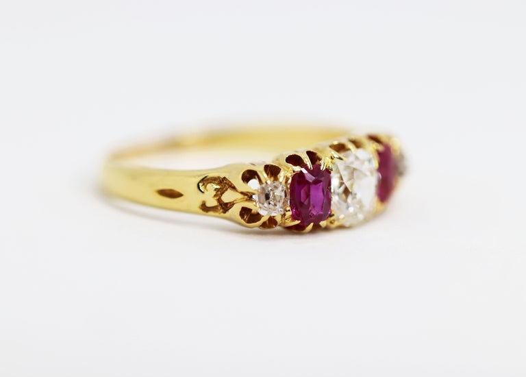 Old Mine Cut Antique 5-Stone Ruby and Old Cut Diamond Ring, circa 1880 For Sale