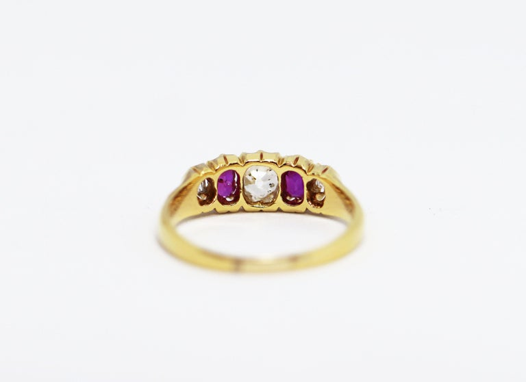 Antique 5-Stone Ruby and Old Cut Diamond Ring, circa 1880 In Good Condition For Sale In London, GB