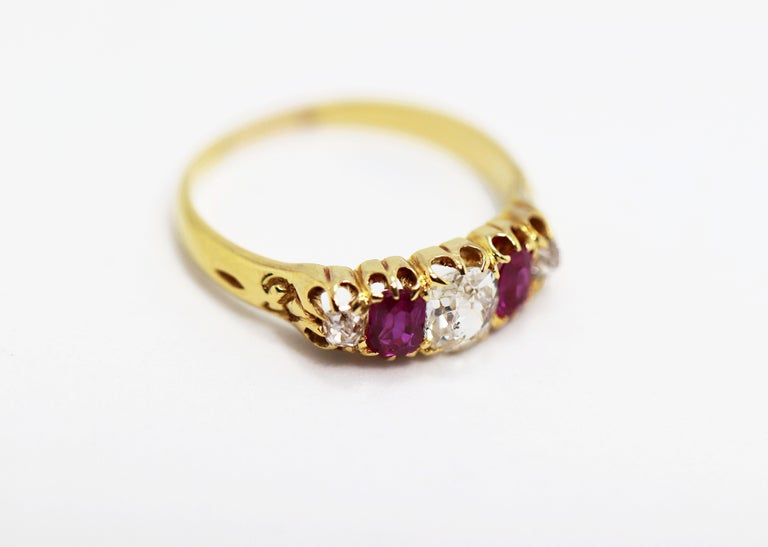 Women's Antique 5-Stone Ruby and Old Cut Diamond Ring, circa 1880 For Sale