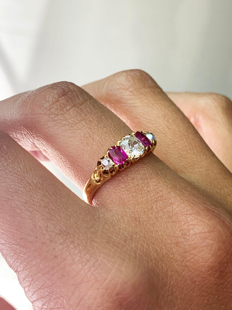 Antique 5-Stone Ruby and Old Cut Diamond Ring, circa 1880 For Sale 1