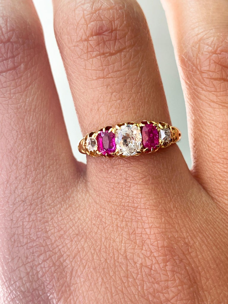 Antique 5-Stone Ruby and Old Cut Diamond Ring, circa 1880 For Sale 2