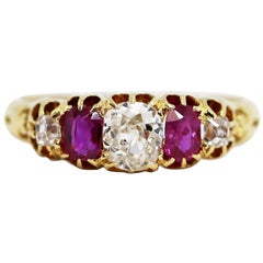 Antique 5-Stone Ruby and Old Cut Diamond Ring, circa 1880
