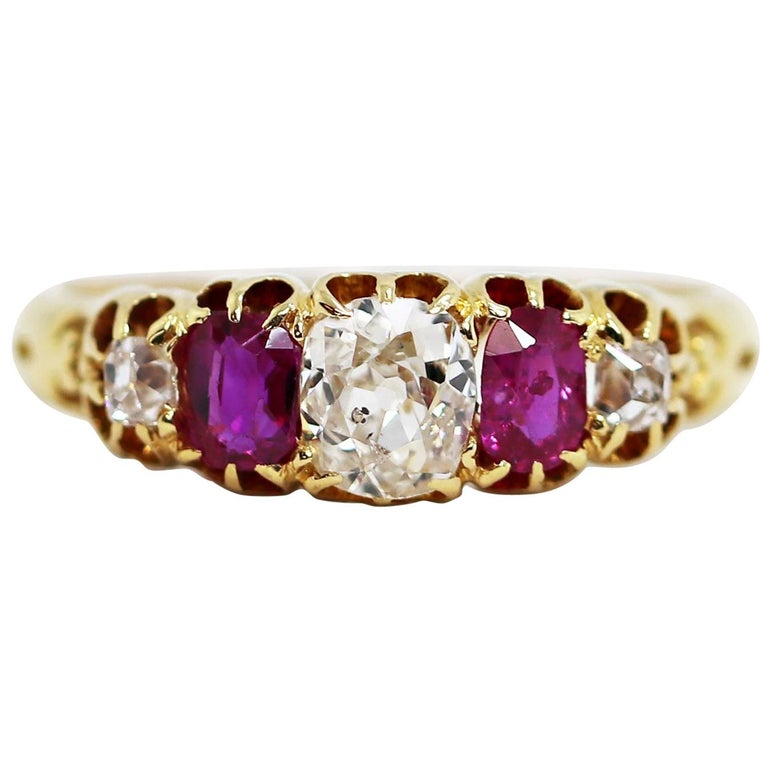 Antique 5-Stone Ruby and Old Cut Diamond Ring, circa 1880 For Sale