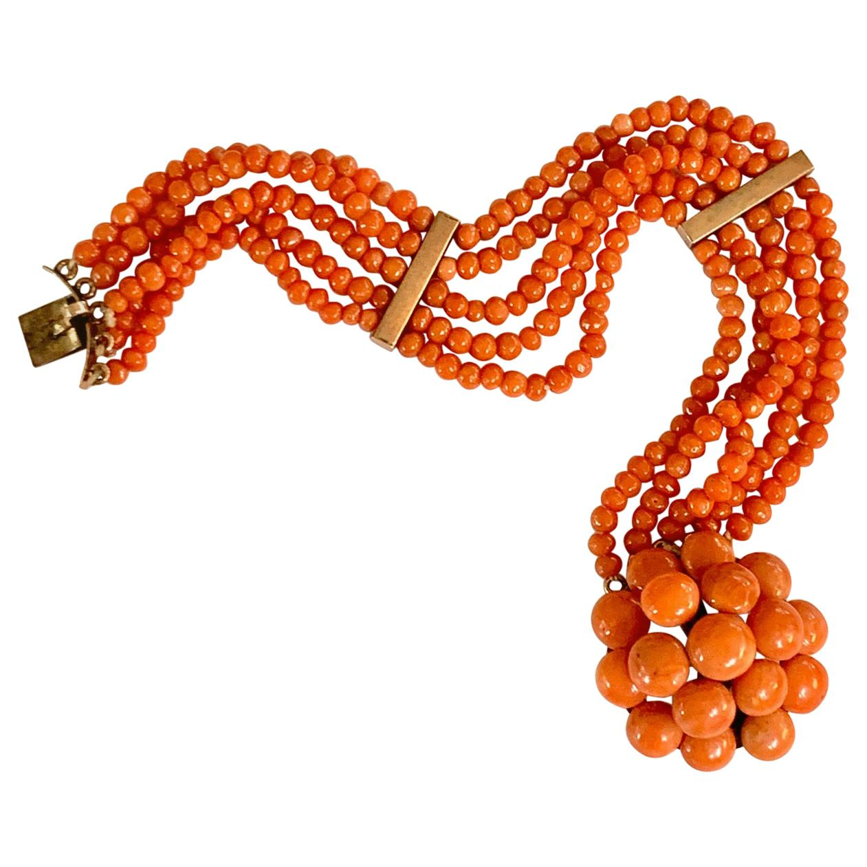 Antique 5-Strand Salmon Coral Bracelet with 14 Karat Rose Gold Clasp and Spacers