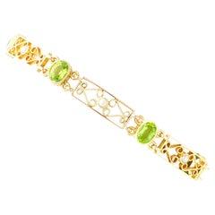 Antique 5.34Ct Peridot Pearl Yellow Gold Bracelet Circa 1900