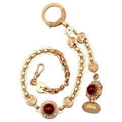 Antique 5.79 Carat Garnet and Pearl Rose Gold Albertina Watch Chain