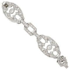 Antique 5.88 Carat Diamond and Platinum Bracelet Art Deco, circa 1930