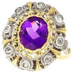 Antique 5.92 Carat Amethyst and Diamond Yellow Gold and Silver Set Cocktail