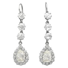 Antique 6.22 Carat Diamond and Platinum Drop Earrings