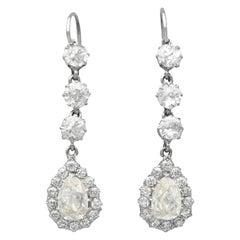 Antique 6.22 Carat Diamond and Platinum Drop Earrings