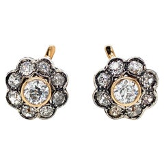 Antique 6.40 Carat Diamond Gold Cluster Earrings, 1890s
