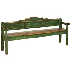 Antique Long and Narrow Original Green Painted Bench