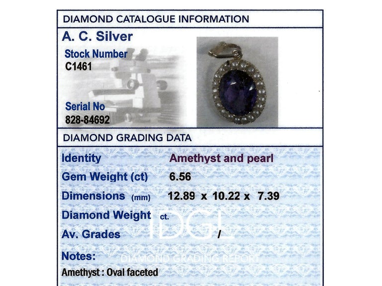 Antique 6.56 Carat Amethyst and Pearl Yellow Gold Pendant For Sale 7