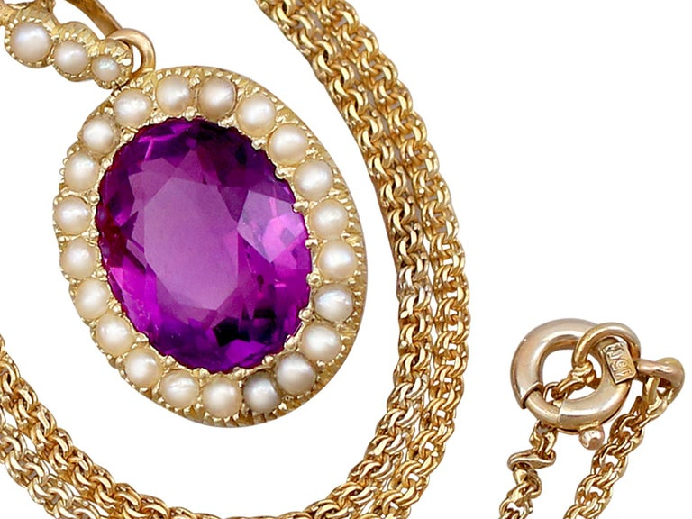 Oval Cut Antique 6.56 Carat Amethyst and Pearl Yellow Gold Pendant For Sale