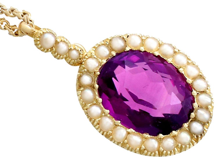 Antique 6.56 Carat Amethyst and Pearl Yellow Gold Pendant In Excellent Condition For Sale In Jesmond, Newcastle Upon Tyne