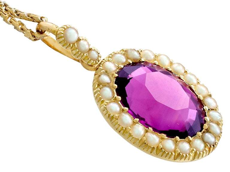 Women's or Men's Antique 6.56 Carat Amethyst and Pearl Yellow Gold Pendant For Sale