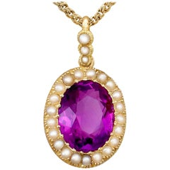 Antique 6.56 Carat Amethyst and Pearl Yellow Gold Pendant