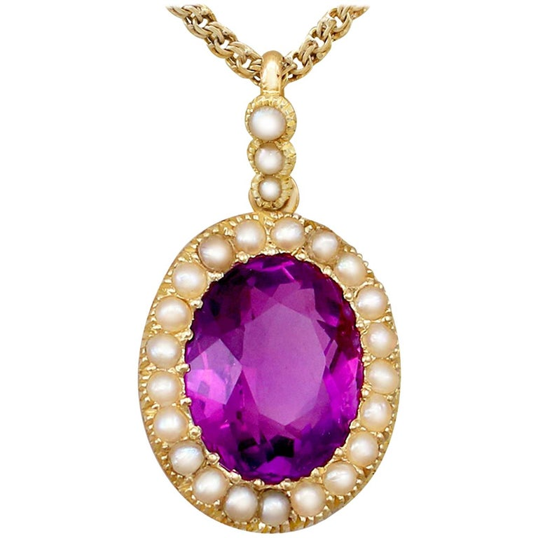 Antique 6.56 Carat Amethyst and Pearl Yellow Gold Pendant For Sale