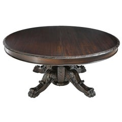 "66"" Round Extension Dining Table with Center Pedestal Opening to 12', c. 1880"