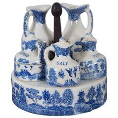 Antique 7 Pc Blue Willow Porcelain Cruet Condiment Set & Caddy Tea Coffee
