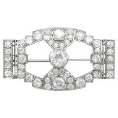 Antique 7.10 Carat Diamond and Platinum Brooch