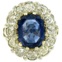 Antique 7.32 Carat Natural Sapphire Diamond Gold Cluster Ring