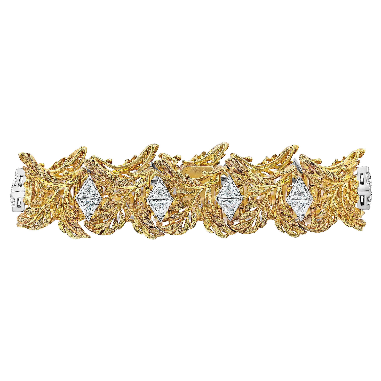 7.40 Carat Trillion Diamond Golden Leaf Bracelet
