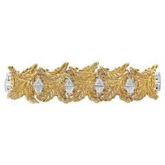 7.40 Carat Trillion Diamond Golden Leaf Bracelet