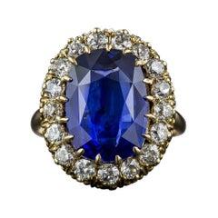 Antique 7.68 Carat Sapphire and Diamond Ring