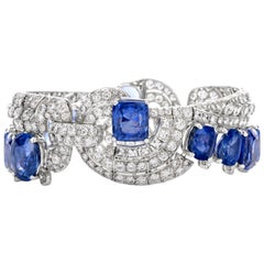 Antique Natural Sapphire Non Heated Sri Lanka Platinum Bracelet