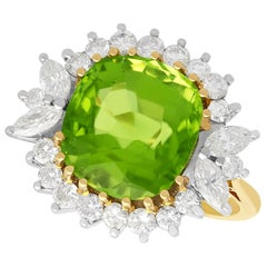 Antique 7.80 Carat Peridot Diamond Gold Cluster Ring