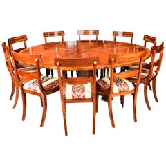 Antique Flame Mahogany Jupe Dining Table 20th Century and 10 chairs